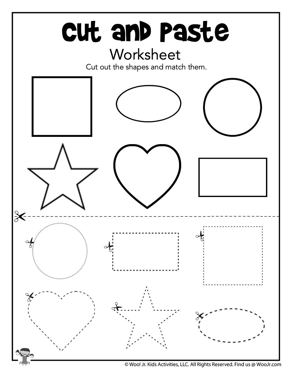 Cut and Paste Worksheet Cut and Paste Matching Shapes Worksheet