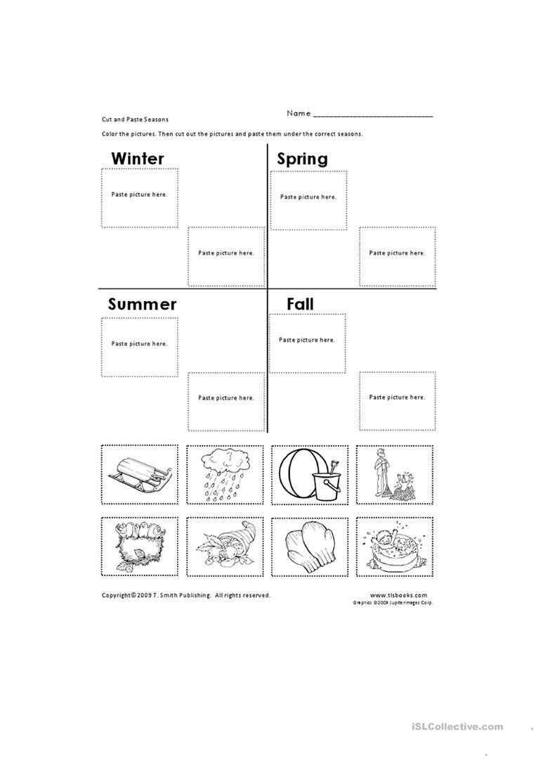 Cut and Paste Worksheet Cut and Paste Seasons English Esl Worksheets for Distance