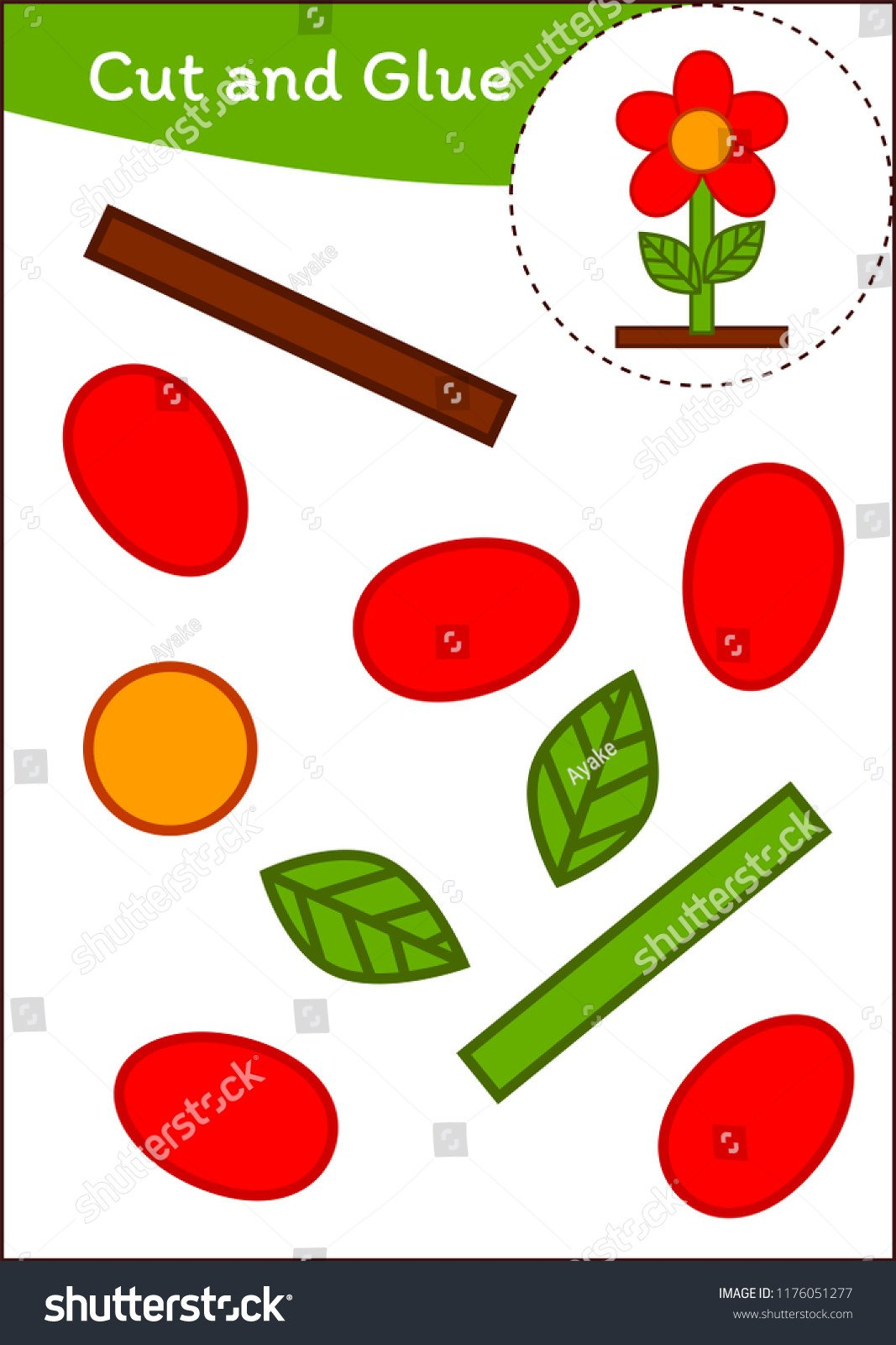stock vector cut and paste worksheet flower