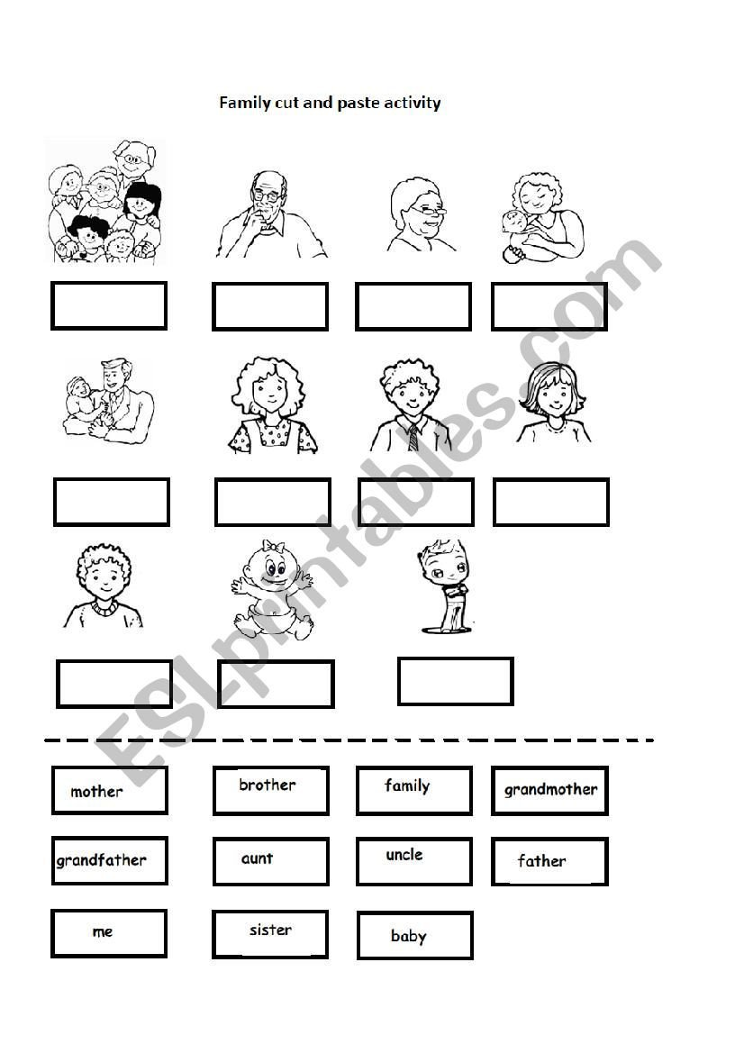 Cut and Paste Worksheets Family Cut and Paste Activity Esl Worksheet by Nesmecik
