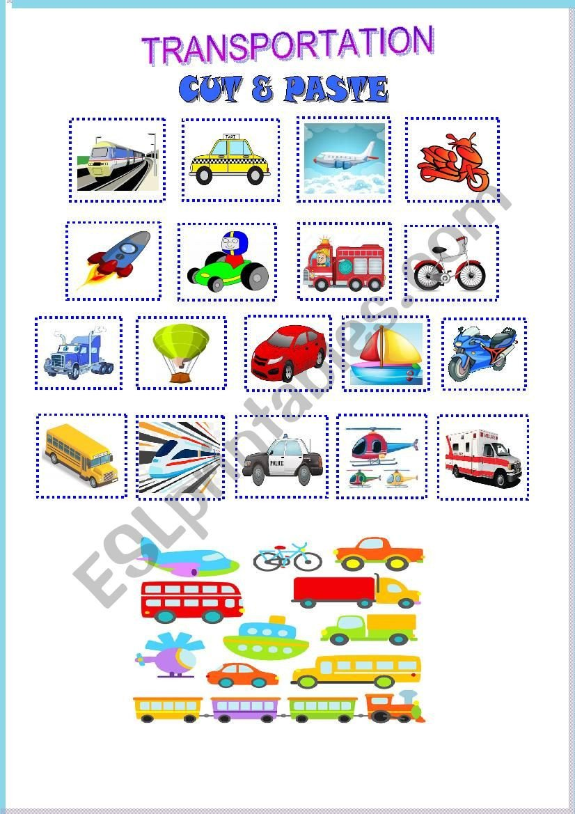 Cut and Paste Worksheets Transportation Cut & Paste Esl Worksheet by Heinchina