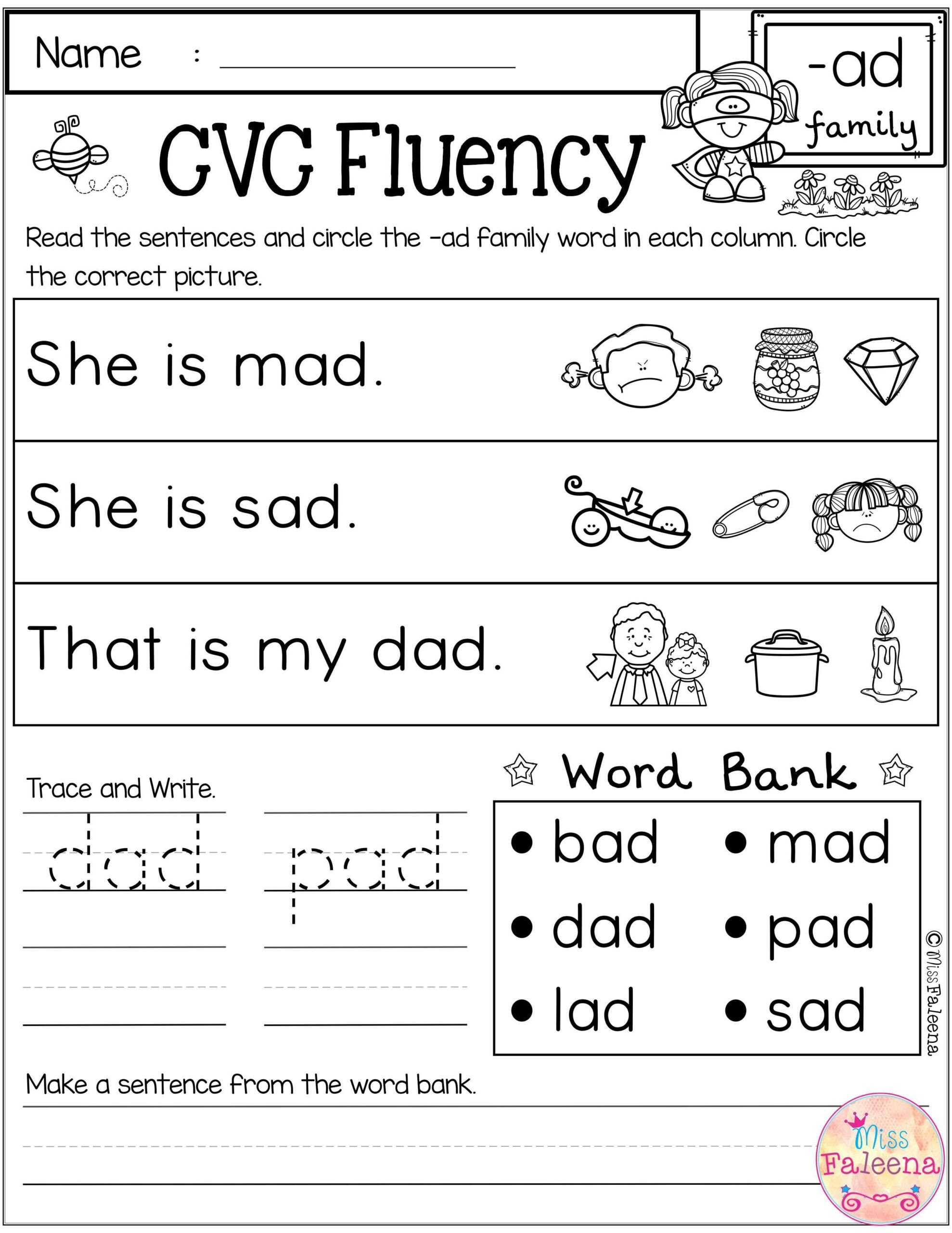 Cvc Worksheets Pdf Cvc Fluency Words Worksheets Education Quotes Sentences with