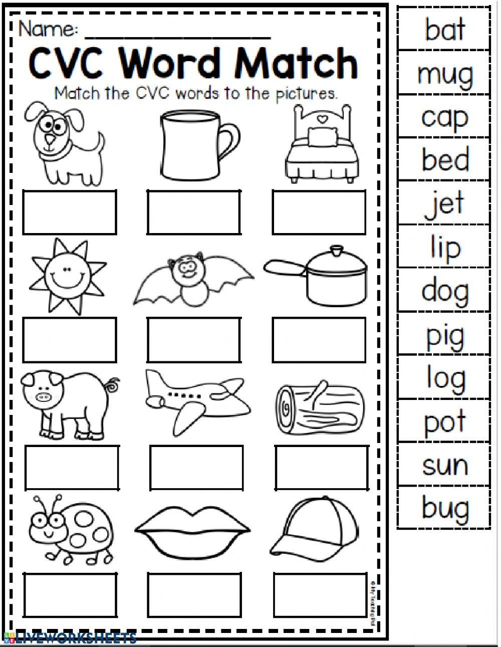 Cvc Worksheets Pdf Cvc Words Interactive Worksheet
