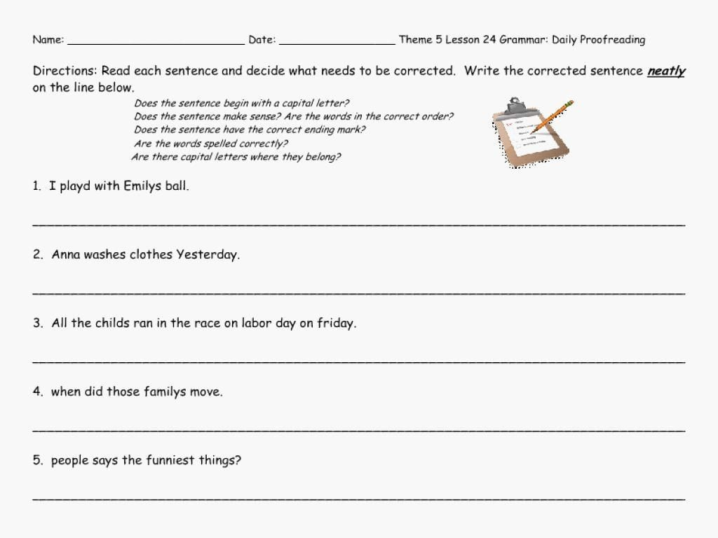 Daily Edit Worksheet 6th Grade Revising and Editing Worksheets