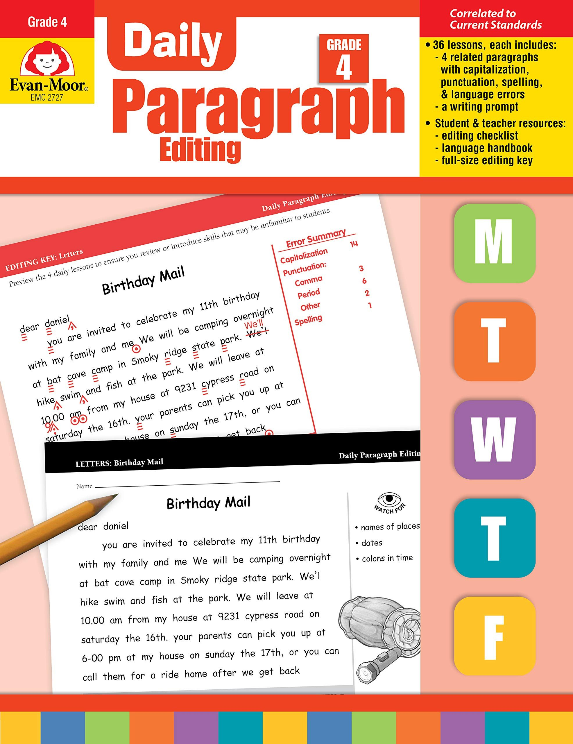 Daily Edit Worksheet Amazon Evan Moor Daily Paragraph Editing Grade 4