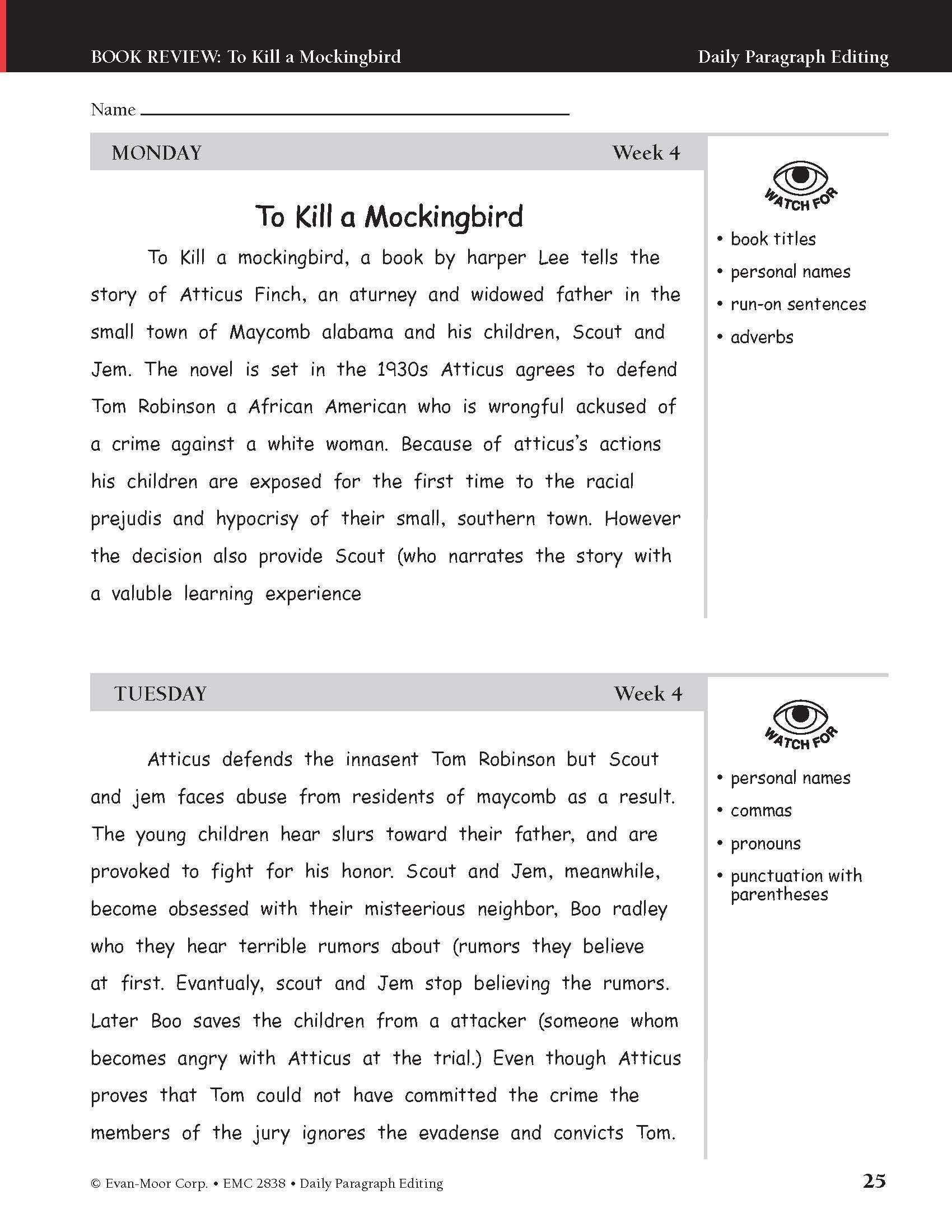 Daily Edit Worksheet Amazon Evan Moor Daily Paragraph Editing Grade 8