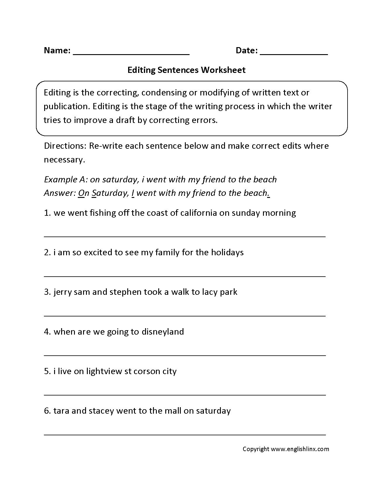 Daily Edit Worksheet Editing Worksheet Sentece