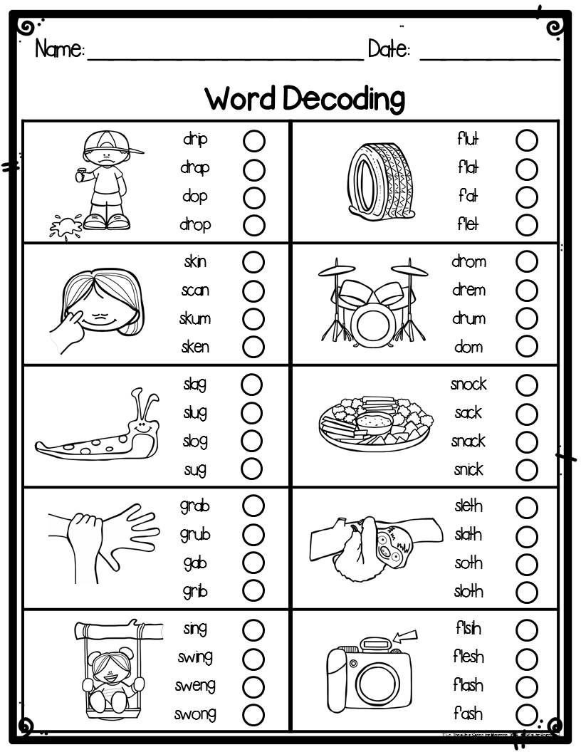 Decoding Worksheets for 1st Grade Consonant Blends Word Decoding Worksheets & assessments