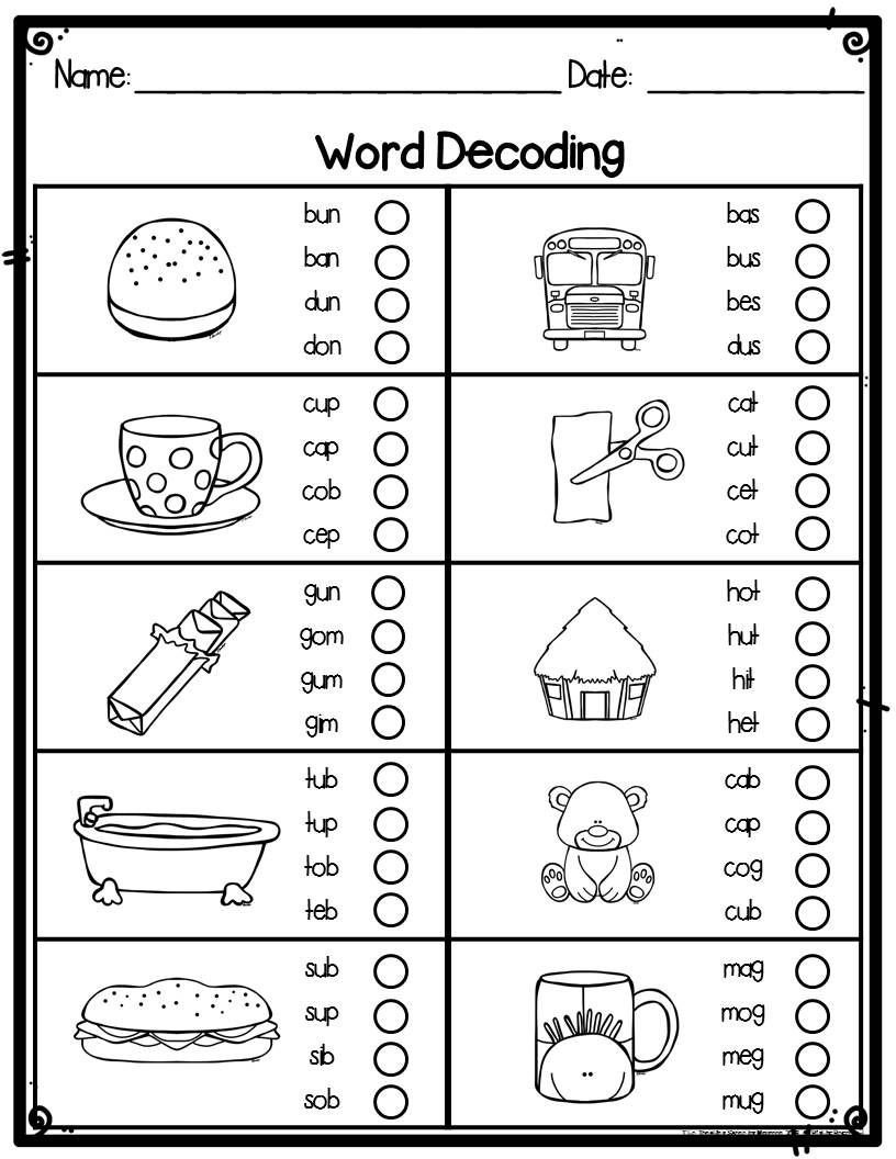 Decoding Worksheets for 1st Grade First Grade Word Decoding Practice & assessment Worksheets