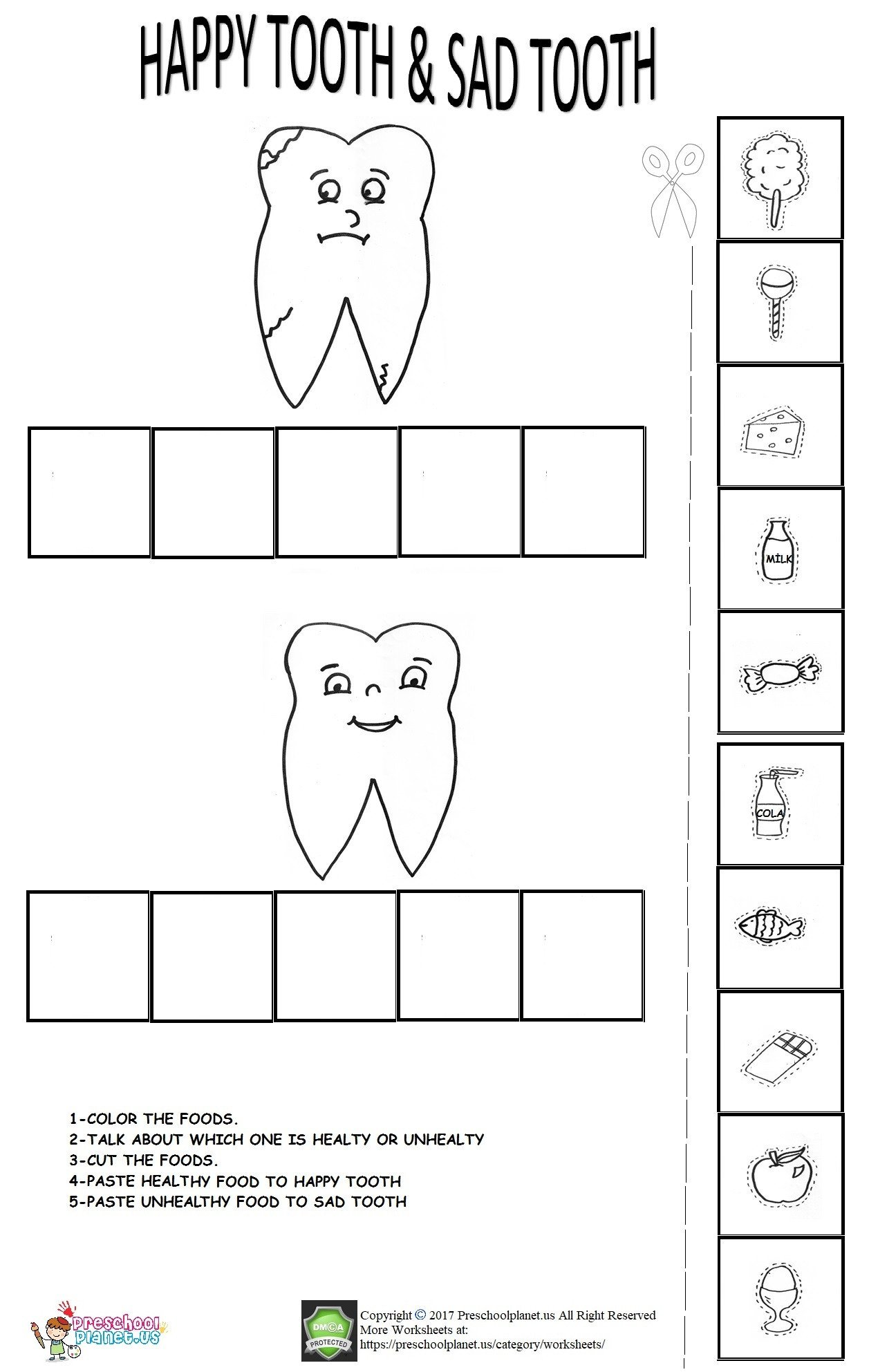 Dentist Worksheets for Kindergarten Dental Health Week Worksheet – Preschoolplanet
