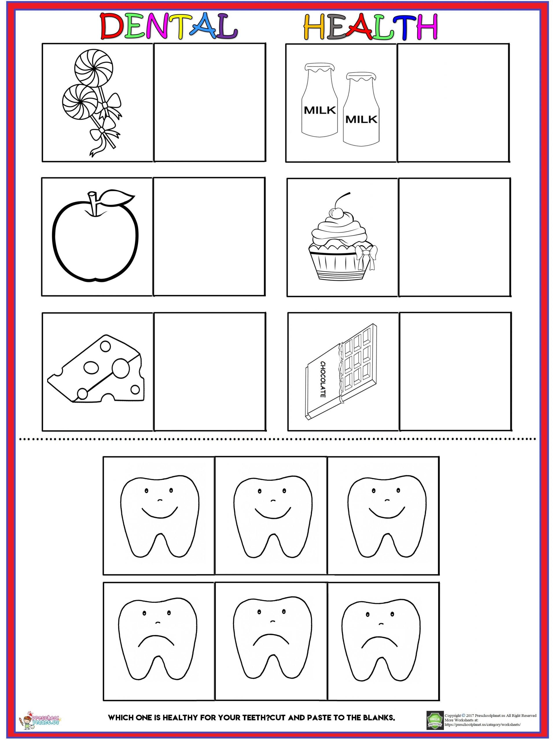 Dentist Worksheets for Kindergarten Dental Health Worksheet – Preschoolplanet