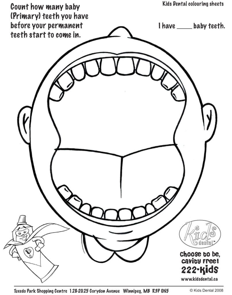 Dentist Worksheets for Kindergarten Pediatric Dental Colorings Printable Teeth for Kindergarten