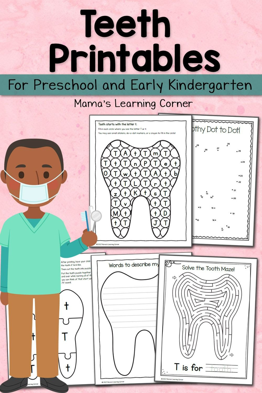 Dentist Worksheets for Kindergarten Teeth Activities for Preschool and Kindergarten