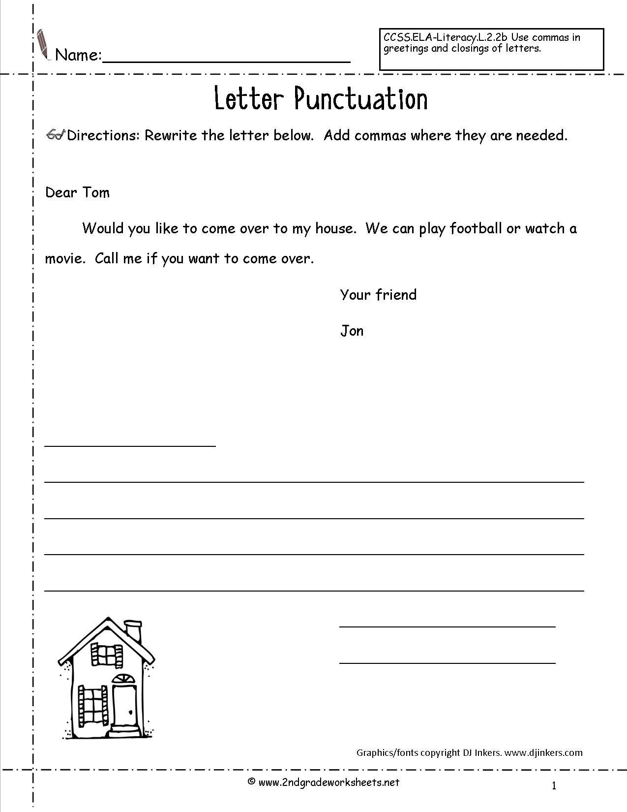 Dialogue Worksheets 3rd Grade Letters and Parts Of A Letter Worksheet