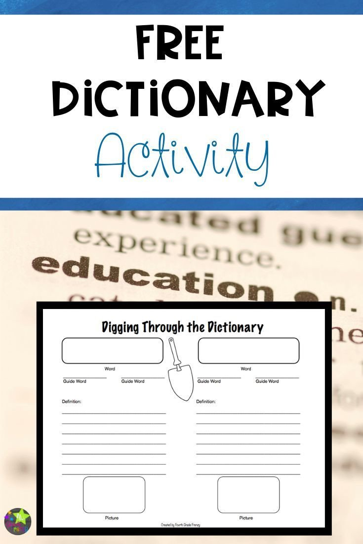 Dictionary Skill Worksheets 3rd Grade Free Dictionary Skills Activity