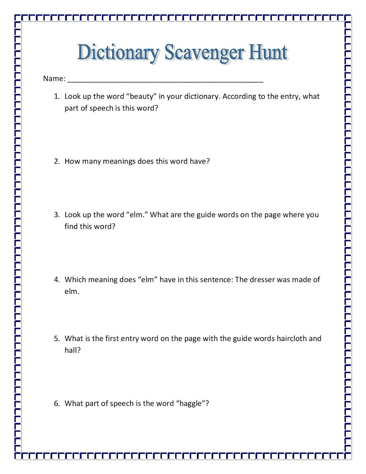 Dictionary Skill Worksheets 3rd Grade Maniac Monday Dictionary Scavenger Hunt Free