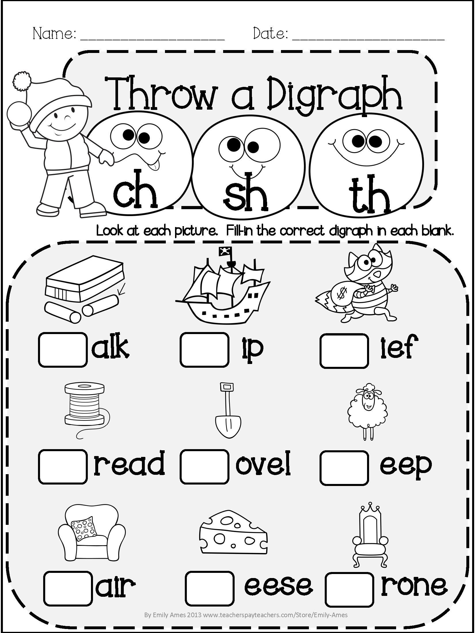 Digraph Worksheets for First Grade Pin by Jennifer Hout On Primary Materials From Tpt