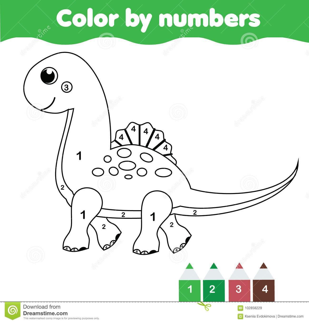 Dinosaur Worksheets for Preschoolers Children Educational Game Coloring Page with Cute Dinosaur