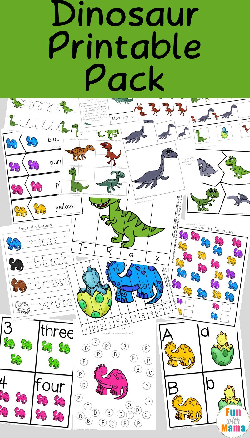 Dinosaur Worksheets for Preschoolers Dinosaur Preschool Printable Pack Fun with Mama