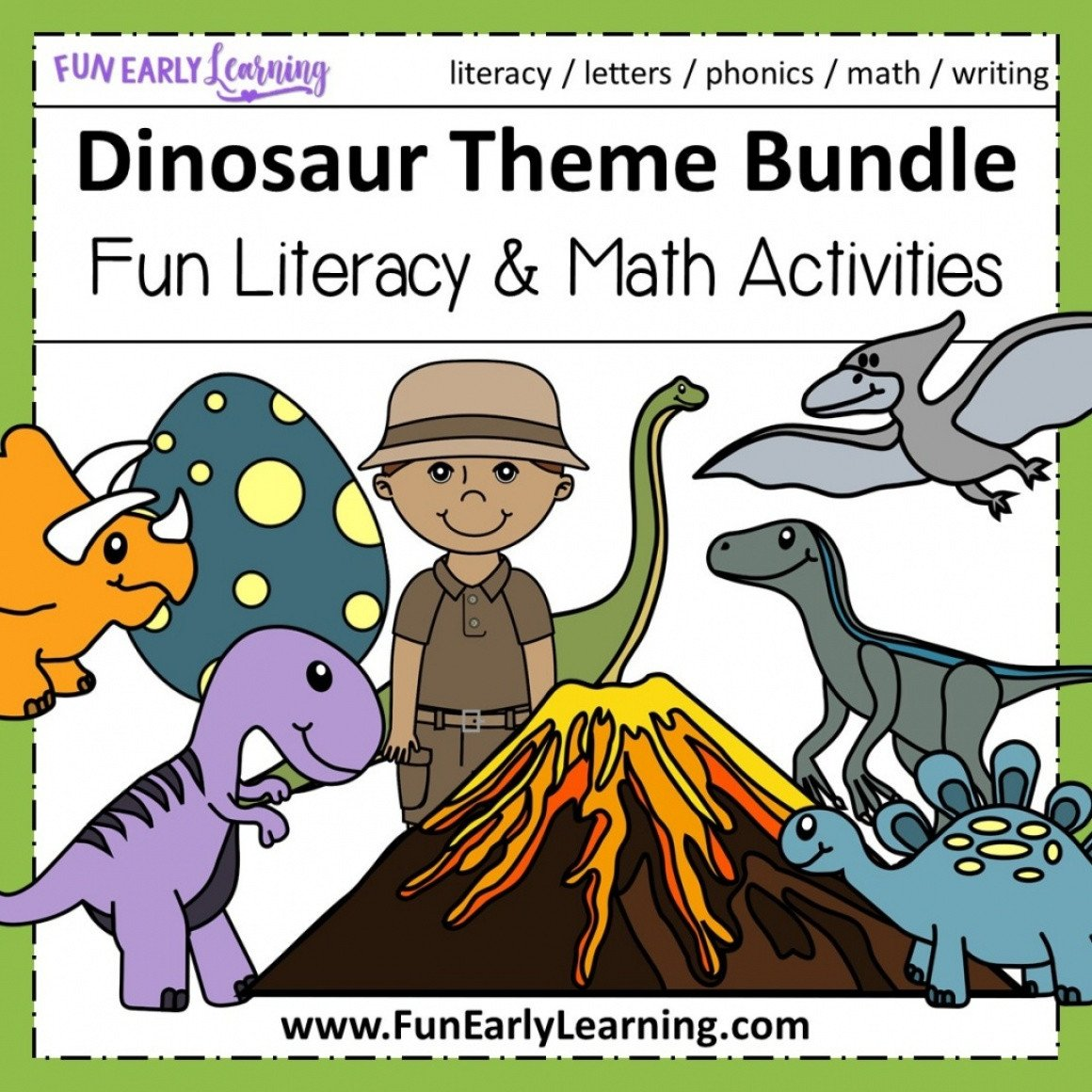Dinosaur Worksheets for Preschoolers Dinosaur theme Bundle Literacy Math and Craft Preschool