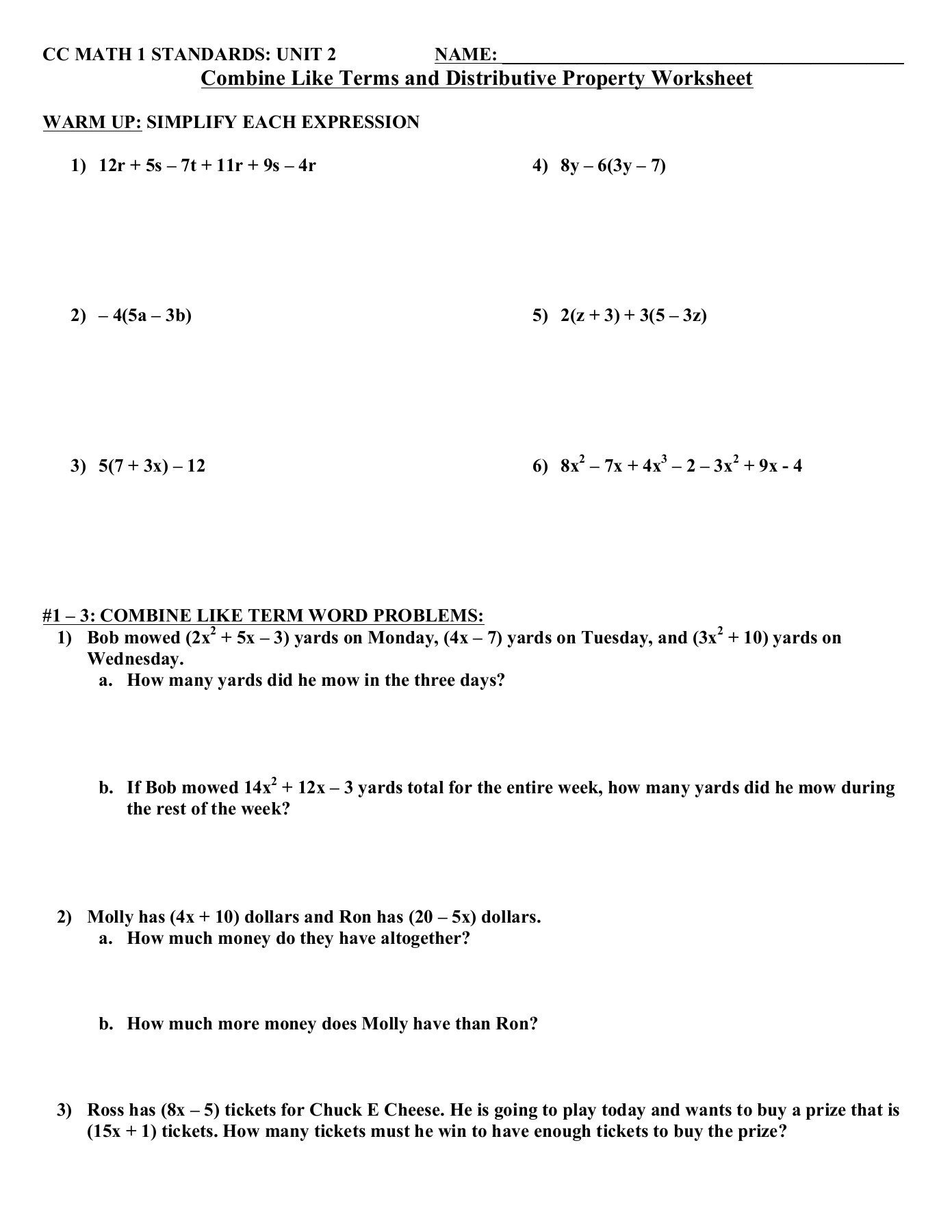 Distributive Property Worksheets Pdf Bine Like Terms and Distributive Property Worksheet Pages