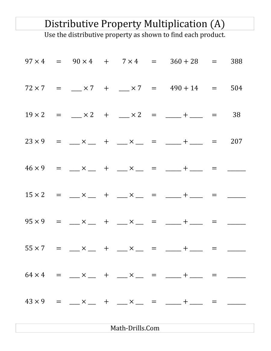 Distributive Property Worksheets Pdf Multiply 2 Digit by 1 Digit Numbers Using the Distributive