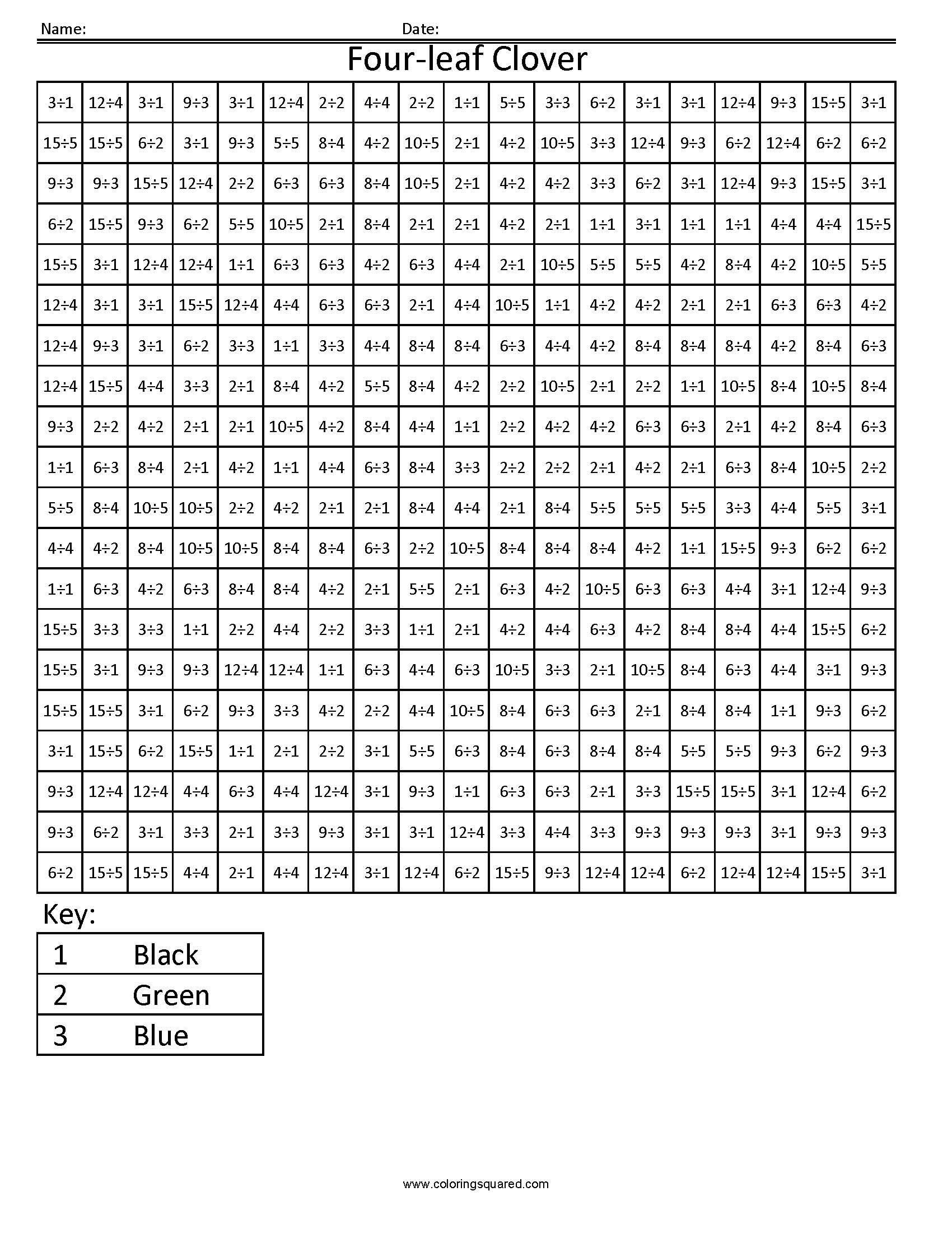 Division Coloring Worksheets Four Leaf Clover Holiday Division Coloring Squared