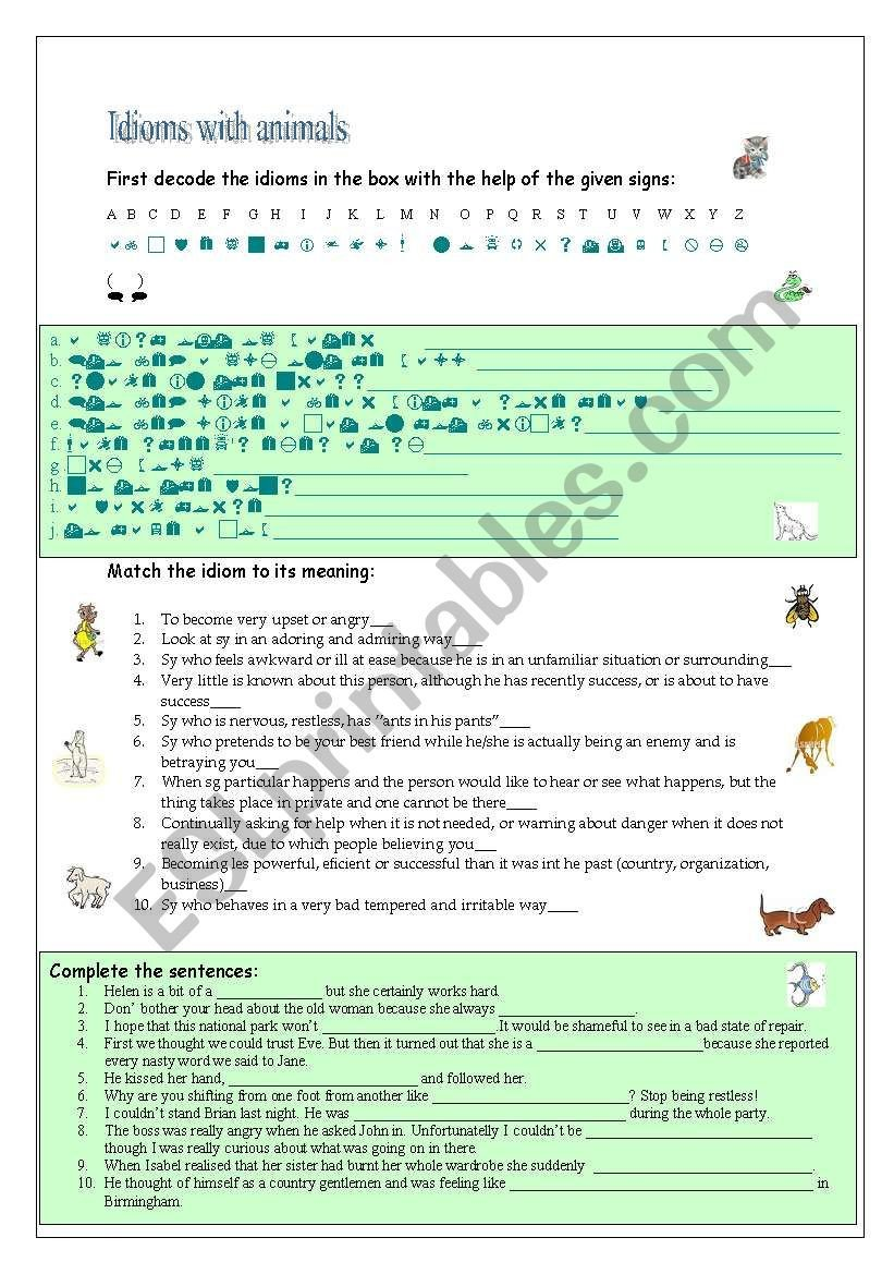 Dogs Decoded Worksheet Idioms with Animals Esl Worksheet by Szamoca