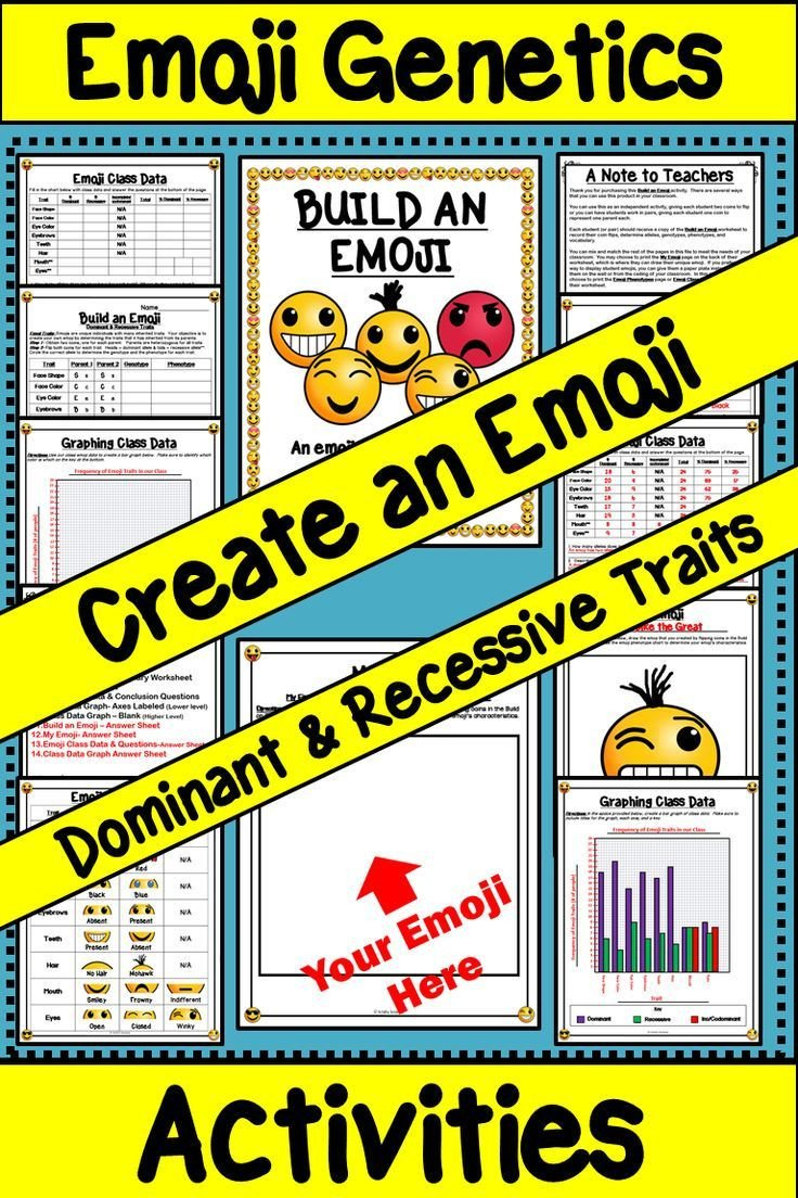 Dominant and Recessive Traits Worksheet Dominant and Recessive Traits Build An Emoji Genetics Lab