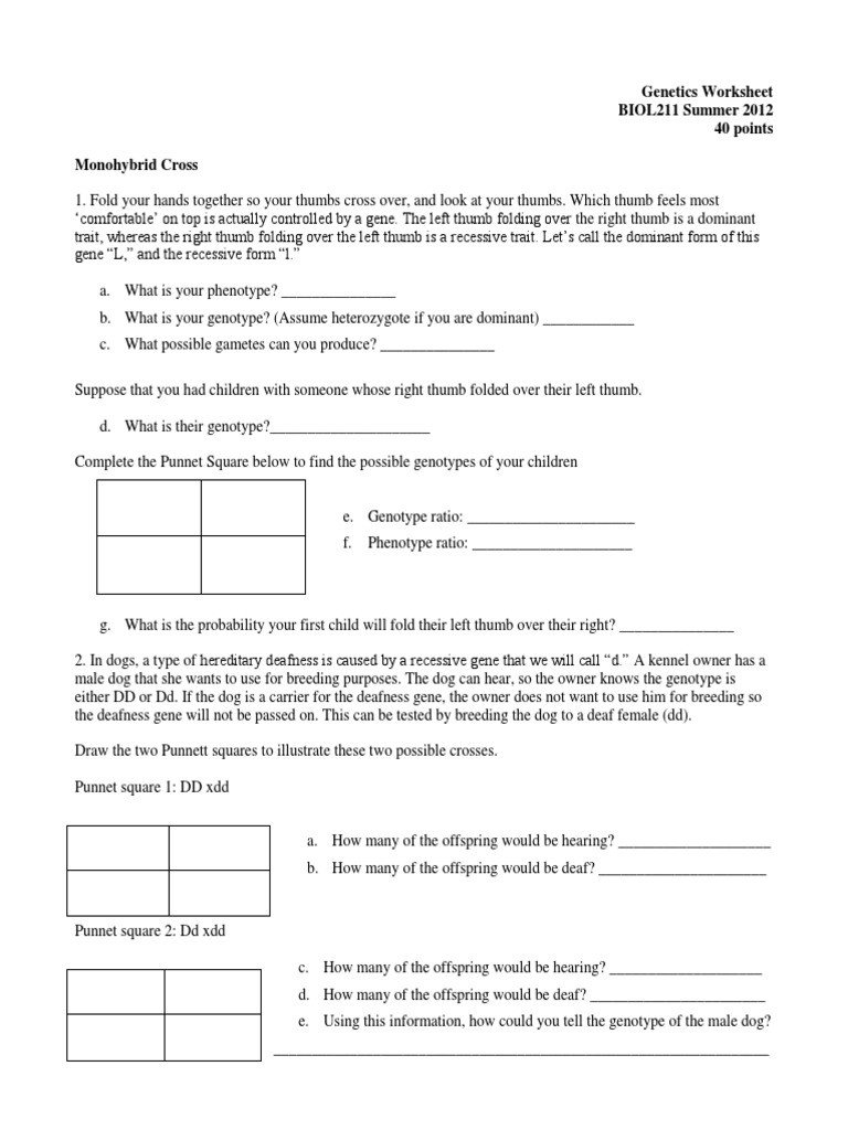 Dominant and Recessive Traits Worksheet Genetics Worksheet Biol211 Summer 2012 40 Points Monohybrid