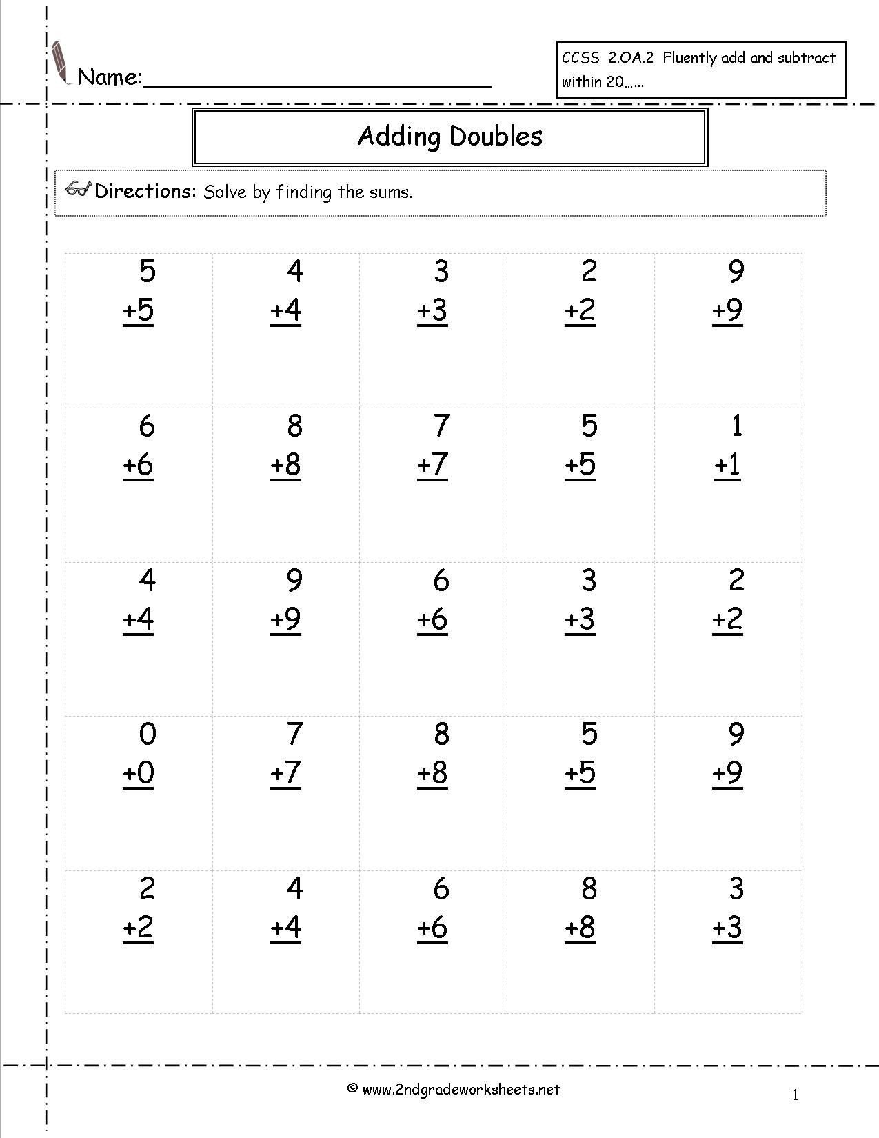 Double Facts Worksheets Doubles Facts Worksheet