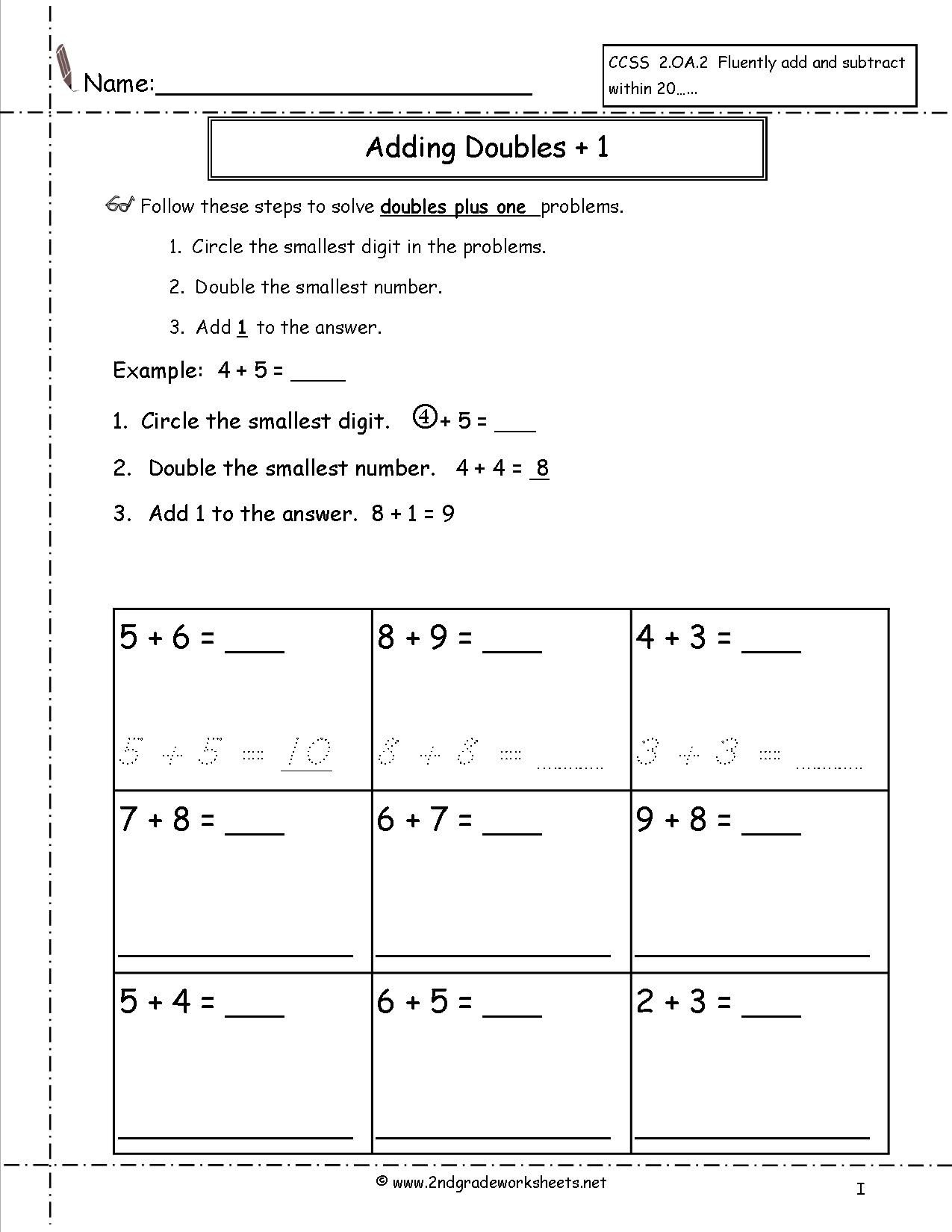 Double Facts Worksheets Minus 1 Worksheet