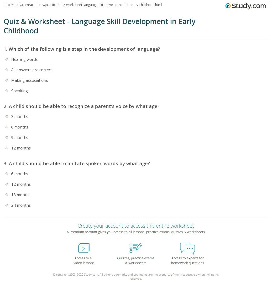 quiz worksheet language skill development in early childhood