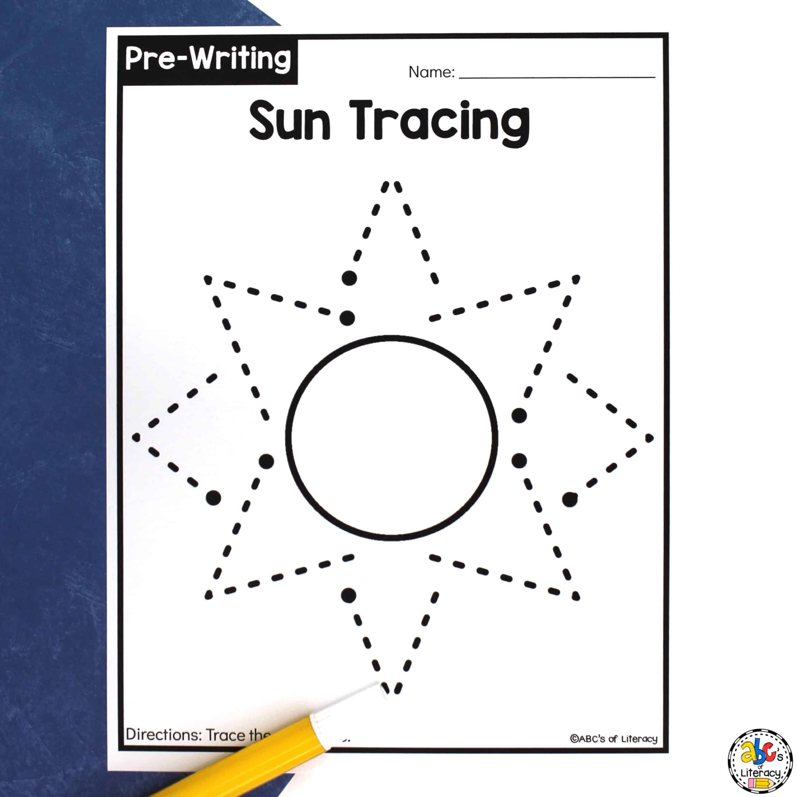 Early Childhood Worksheets Sun Tracing Worksheets Pre Writing Activity for Preschoolers