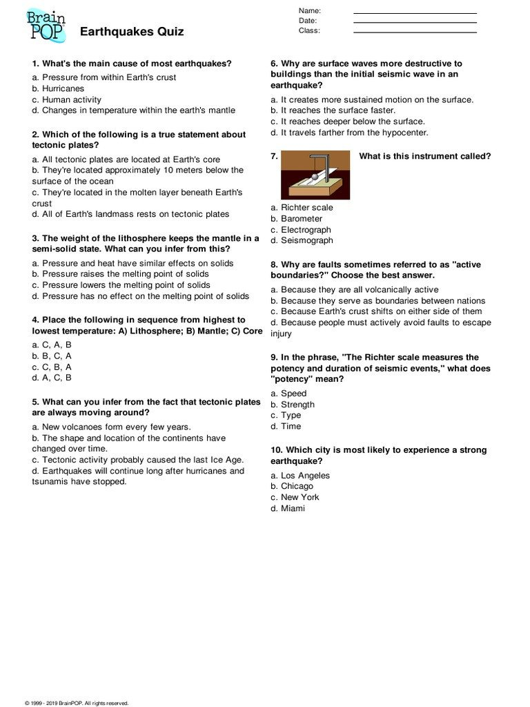 Earthquake Worksheet Pdf Brainpop Earthquakes Quiz Earthquakes