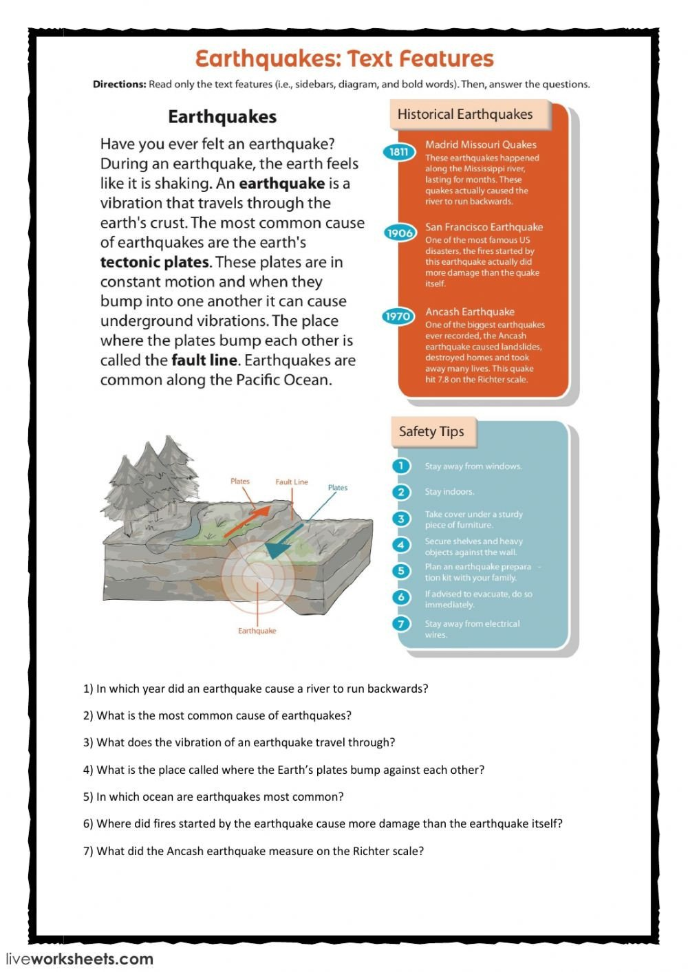 Earthquake Worksheet Pdf Earthquakes Interactive Worksheet