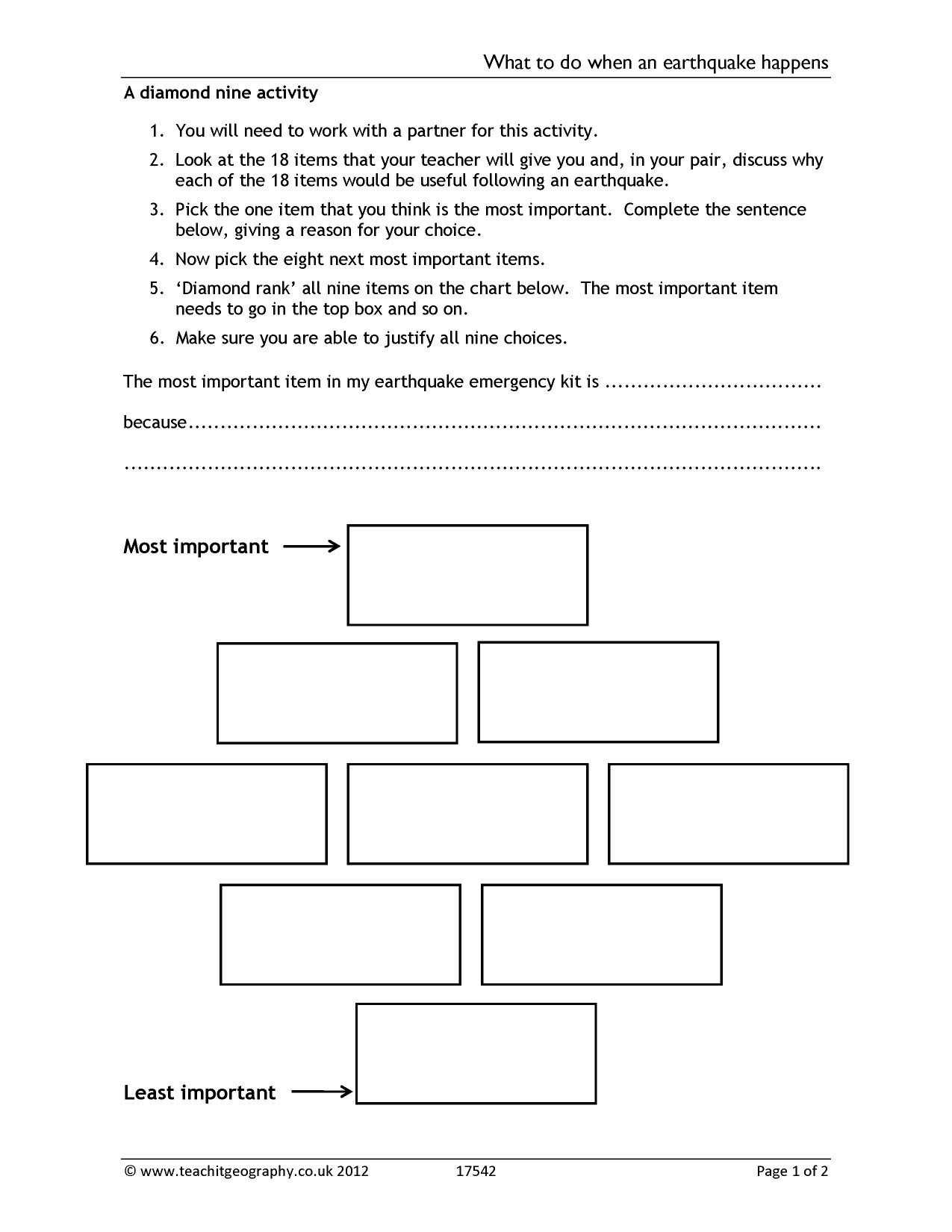 Earthquake Worksheet Pdf Ks3 Earthquakes