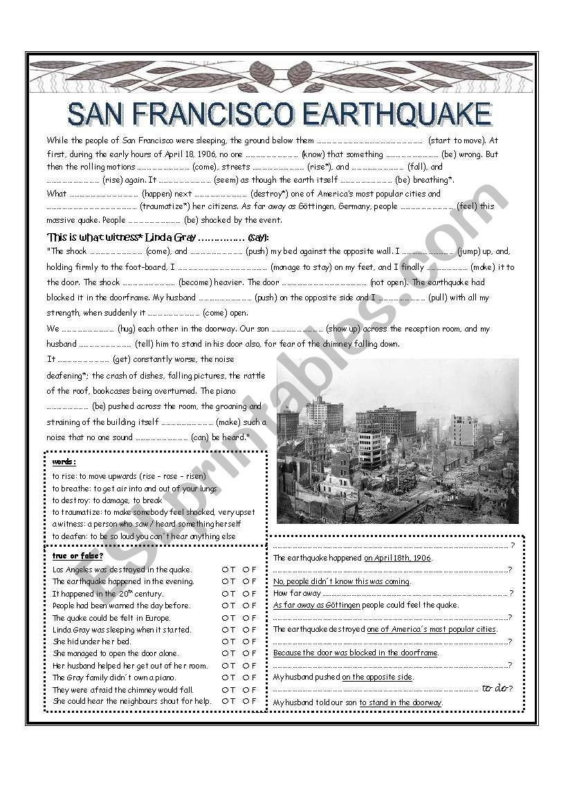 Earthquake Worksheet Pdf San Francisco Earthquake Esl Worksheet by Lisa Weix
