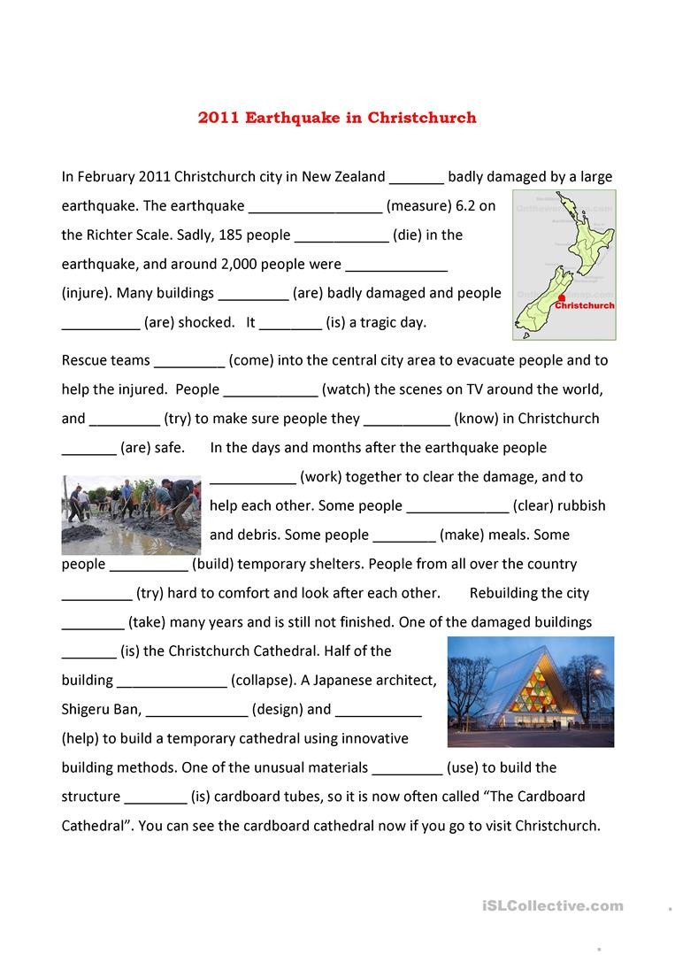 christchurch earthquake english esl worksheets for distance printable worksheet templates