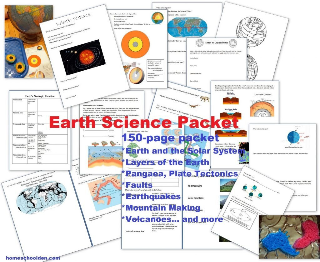 earth science packet layers of the earth plate tectonics earthquakes volcanoes 4 types of mountains and more
