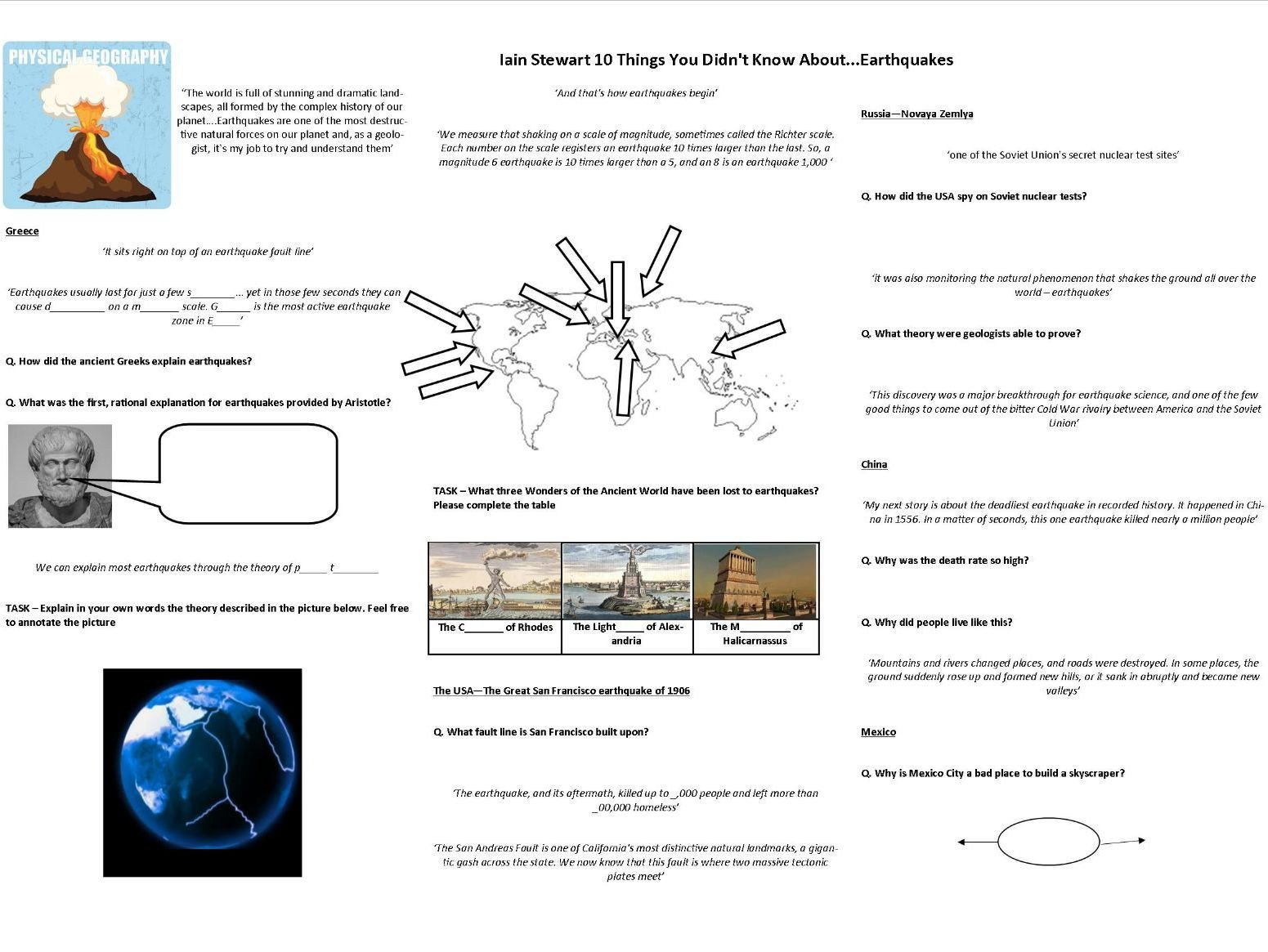 earthquakes 10 things you didn t know about worksheet to support the bbc doc with iain stewart