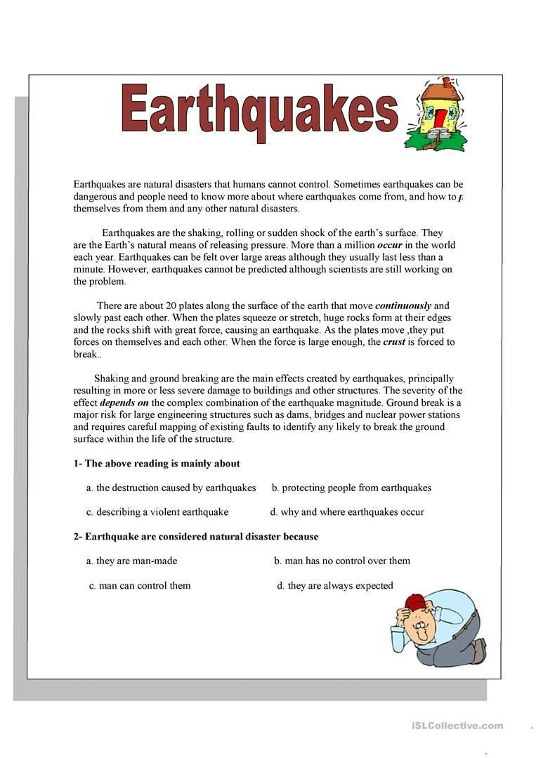 Earthquake Worksheets Middle School Earthquakes Worksheet Free Esl Printable Worksheets Made