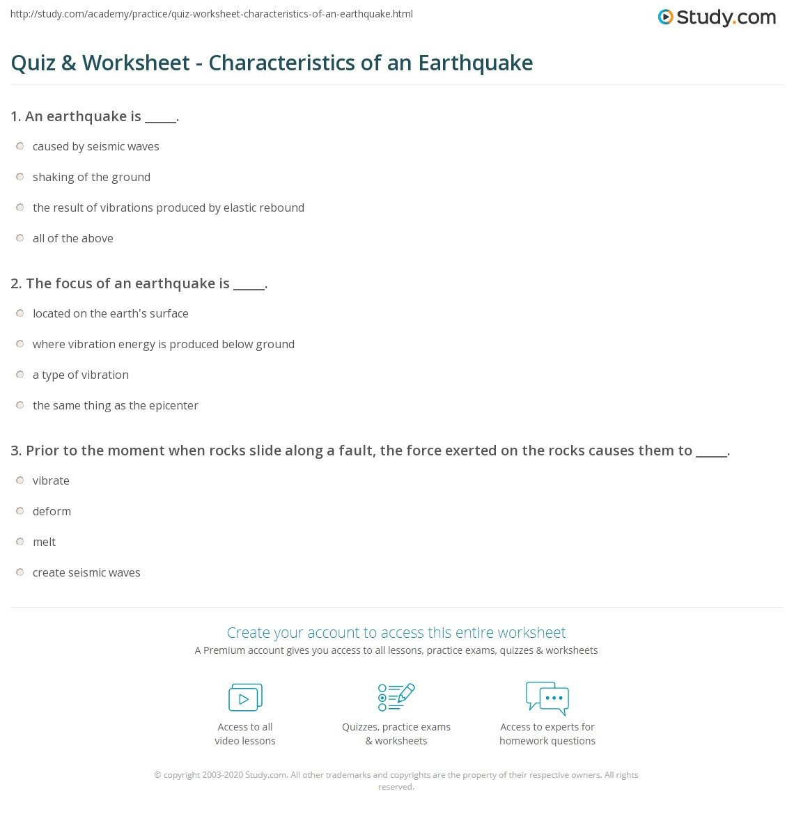 quiz worksheet characteristics of an earthquake