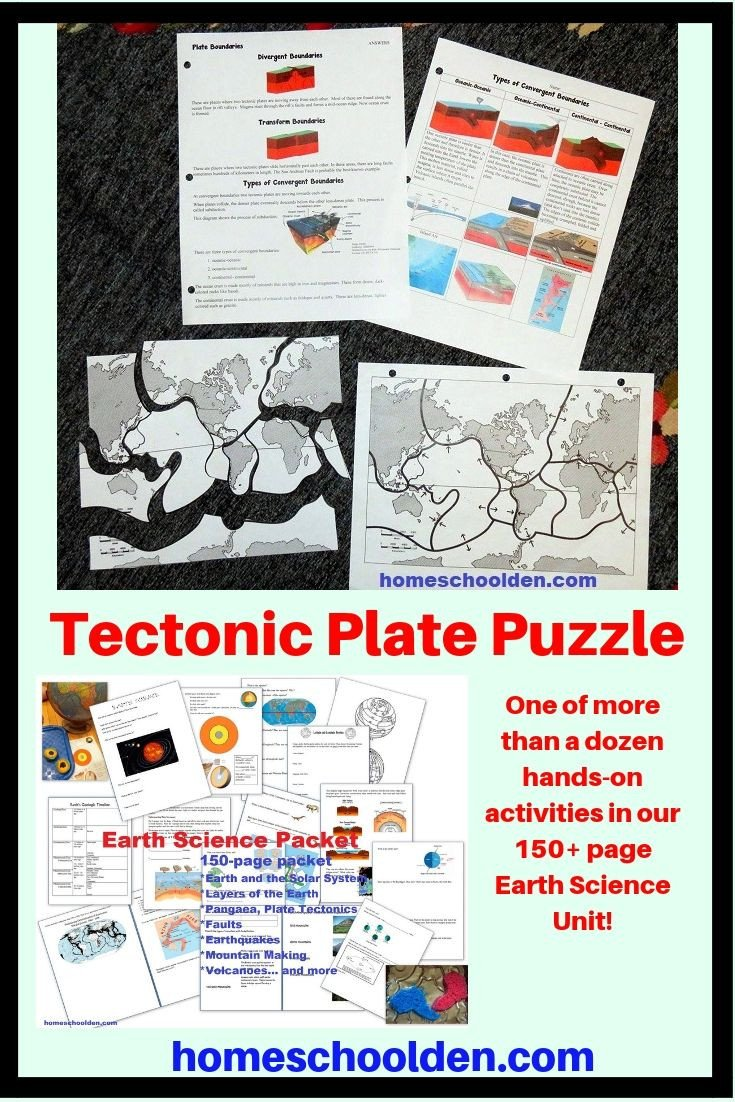 Earthquake Worksheets Middle School Tectonic Plate Puzzle Earth Science Unit Activity E Of