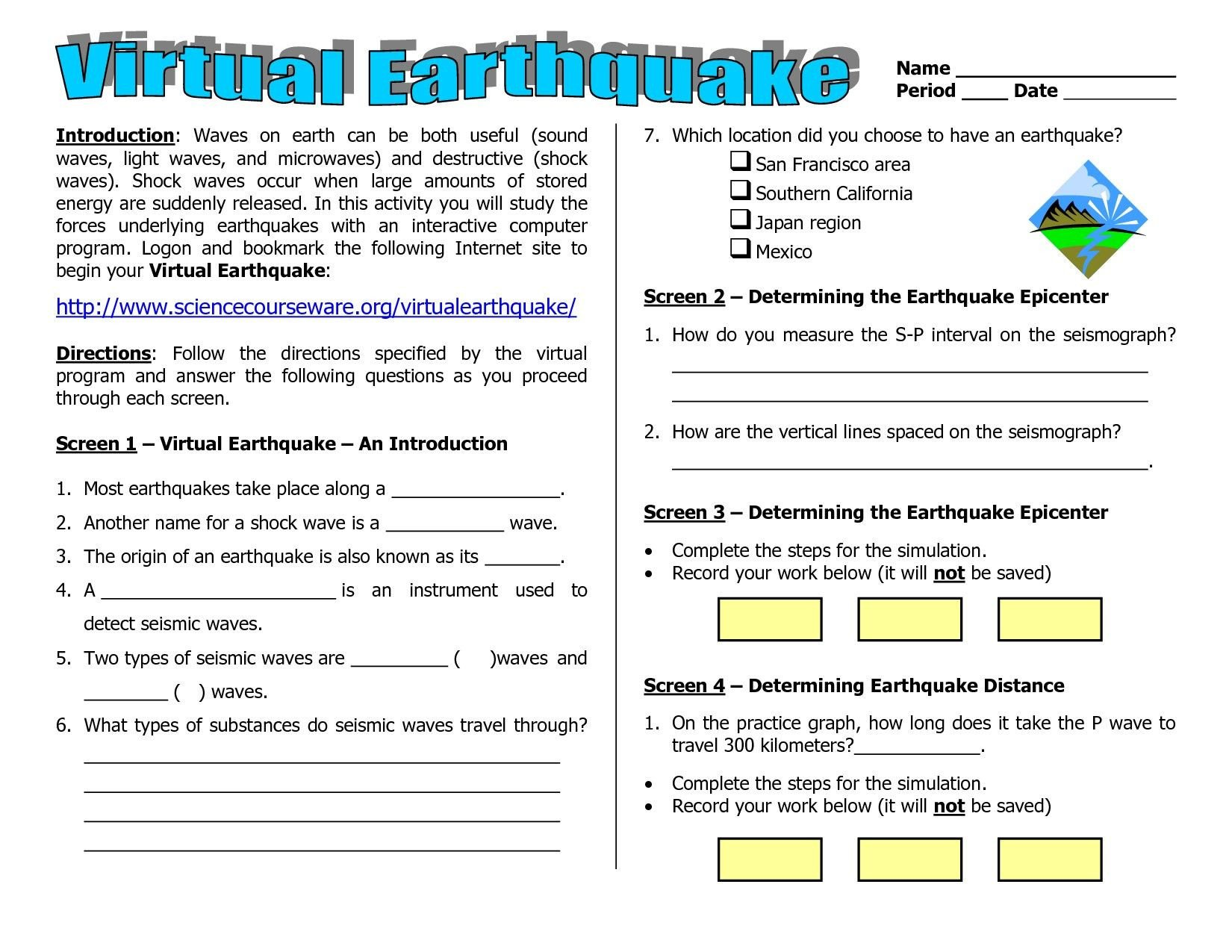 Earthquake Worksheets Middle School Worksheets Earth