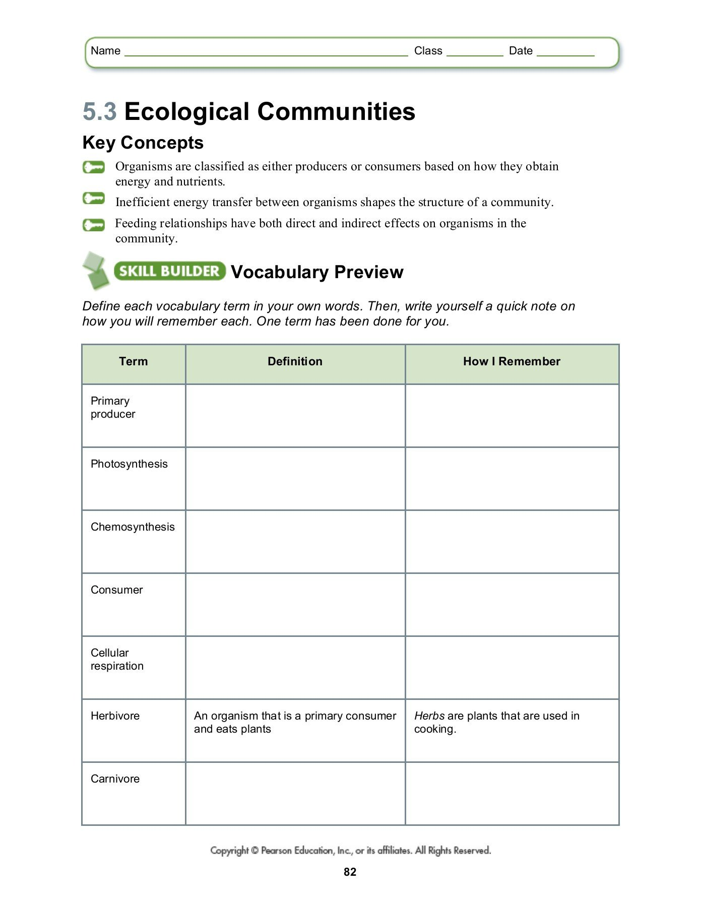 Ecosystem Worksheet Answer Key 5 3 Ecological Munities southgate Schools Pages 1 4