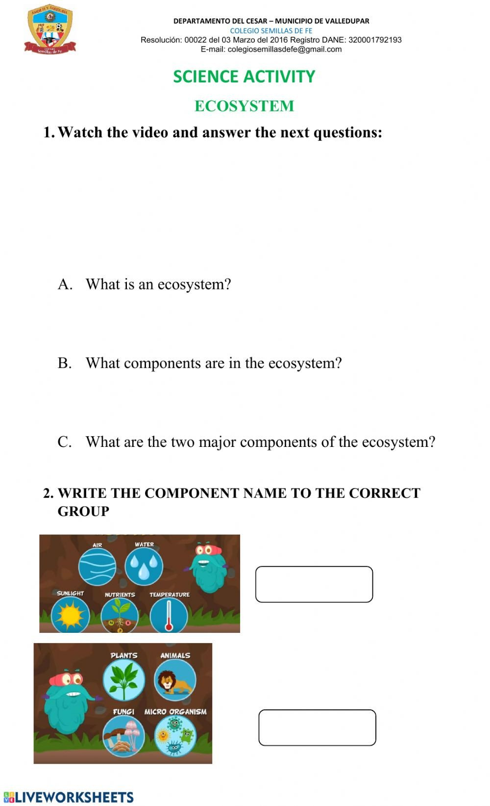 Ecosystem Worksheet Answer Key Ecosystem Interactive Worksheet