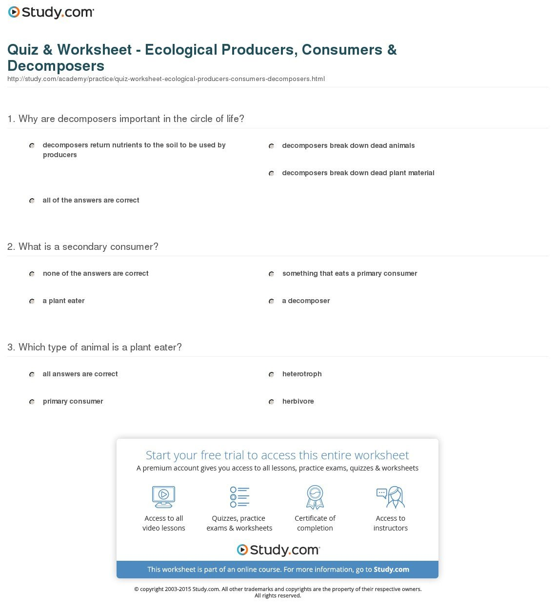 Ecosystem Worksheet Answer Key Elegant Producers and Consumers Worksheet