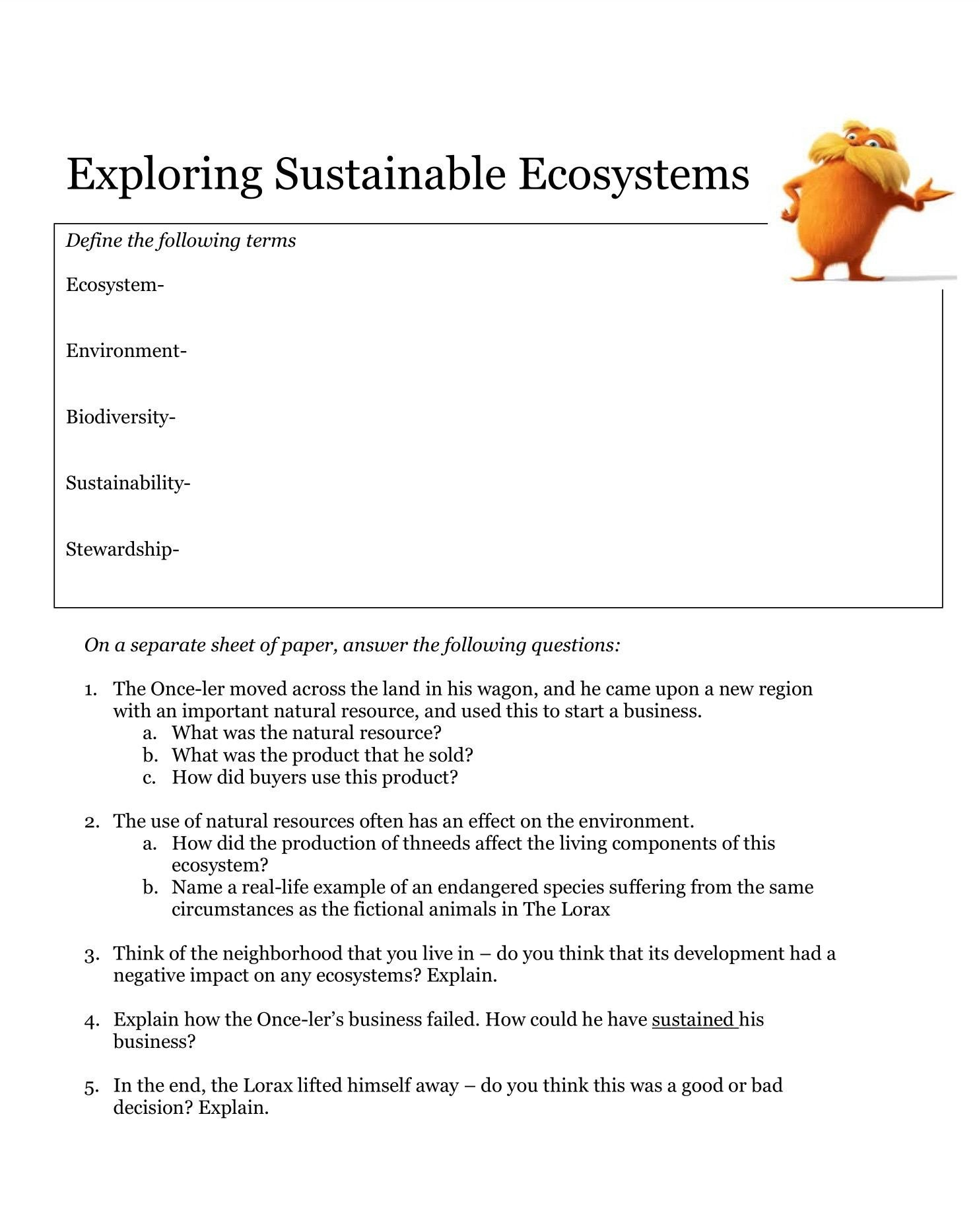 Ecosystem Worksheet Answer Key Introduction Sustainable Ecosystems Worksheet Thursday