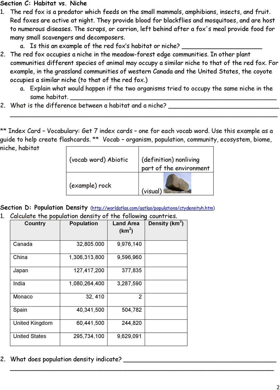 Ecosystem Worksheet Answer Key Population Munity Ecosystem Worksheet Worksheet List